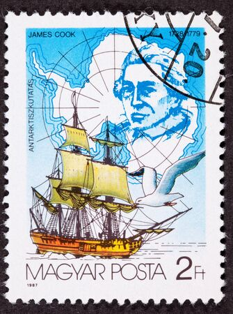 antarctica: Canceled Hungarian Postage Stamp Explorer James Cook Antarctica Sailing Ship