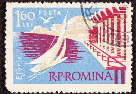 canceled: Canceled Postage Stamp Sailboat Sailing Romania Black Sea Resort of Eforie Stock Photo