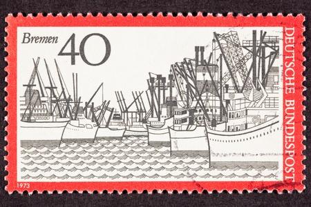 canceled: Canceled Postage Stamp Used West German Freighters Docked Bremen Harbor