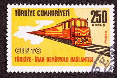 railcar: Turkish Postage Stamp Regional Cooperation Turkey Iran Railroad Link Stock Photo