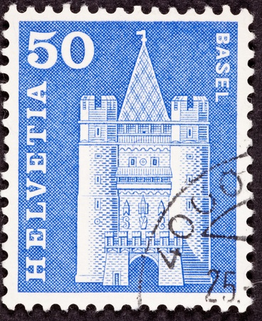 canceled: Canceled Swiss Postage Stamp Drawing of Basel M�nster Cathedral, Basel, Switzerland Stock Photo