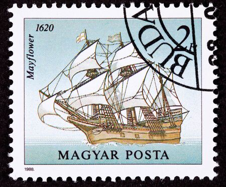 commemorative: Hungarian postage Stamp showing the Mayflower on the open seas.  The Mayflower transported the pilgrims to the new world.  The pilgrims were the first successful colonists in what is now the United States