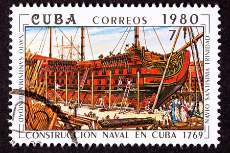 commemorative: Cuba Postage Stamp San  Built at Havana, Cuba,  launched in 1769 as an 120-gun three-decker. She took part in the Battle of Trafalgar on October 21, 1805, as part of the combined Franco-Spanish fleet and was sunk Stock Photo