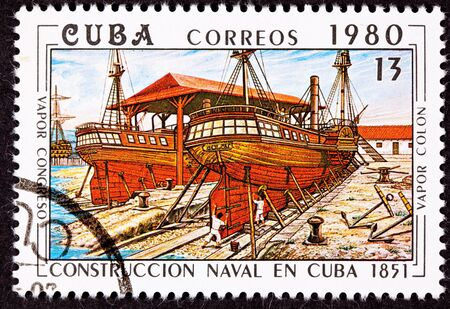 Canceled Cuba Postage Stamp Vapor Colon Construction in Cuban Dry-dock