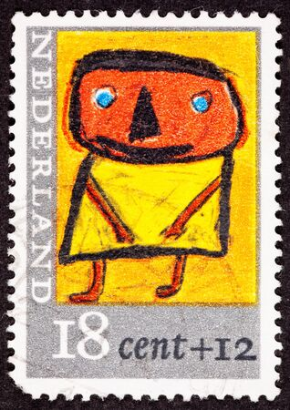 dutch: Canceled Dutch Netherlands Postage Stamp Childs Drawing Person Standing Yellow