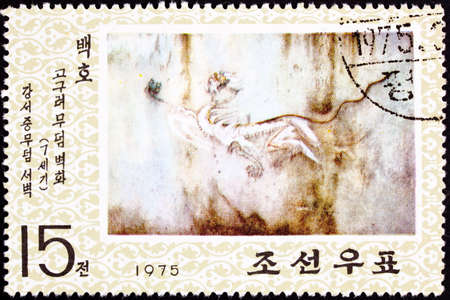White Tiger Cave Painting from the GoguryeoKoguryŏ kingdom in what is now known as Korea,  Painting from around 600 AD. Stock Photo