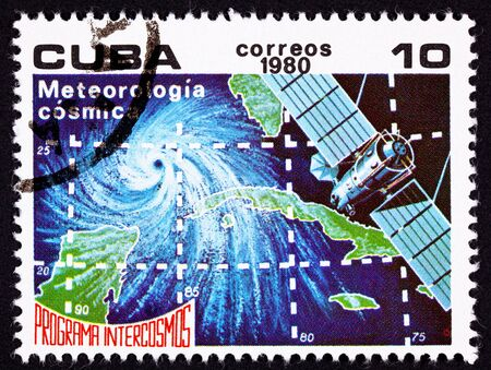 Weather satellite tracking a Hurricane off of Cuba.  Intercosmos was the Soviet Union lead space exploration program.