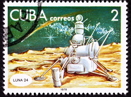 returned: Soviet Unions Luna 24 probe on the surface of the Moon.  The probe collected soil samples which it returned to Earth.  Style of illustration and color pallet are similar to futuristic space drawings from the 1950s.
