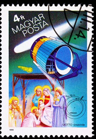 European spacecraft Giotto that passed close to Halleys Comet in 1986.  Was named for Giotto di Bondone, who painted the famous Adoration of the Magi in 1301showing the comet as the Star of Bethlehem.