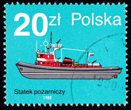 Side view of a Polish fireboat. Reklamní fotografie