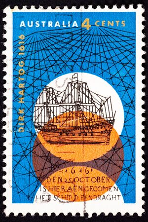 philatelic: Commemoration of Dutch Explorer Dirk Hartogs arrival in Australia in 1616 aboard the Eendracht.  His expedition was the second European group to reach Australia.