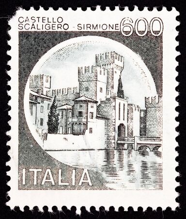 Scaliger Castle, Sirmione, Italy.  Castle is on a peninsula in a lake making it easier to defend photo