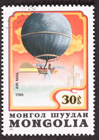 dirigible: Mongolian stamp commemorating Jean Pierre Blanchard Crossing English Channel 1785.    Yes those are wings!   Technically this is a dirigible as it could be steered.