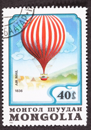 Mongoolse luchtpostzegel ter herdenking van Charles Green's in1836 vlucht in een Royal-Vauxhall-ballon uit Vauxhall Gardens in Londen naar Weilburg, Duchy of Nassau (Duitsland) een afstand van 480 mijl (770 km)