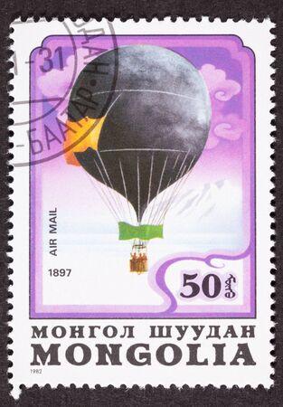 Mongoolse ballon Luchtpost Postzegel Historische vlucht Zweden 1897 Stockfoto
