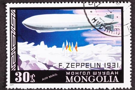 Graf Zeppelin vlucht naar de Noordpool, 1931, geannuleerd Mongoolse Air Mail Postage Stamp