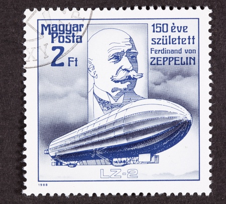 Hungarian Air Mail Stamp commemorating the 150th anniversary of Count Ferdinand von Zeppelins birth