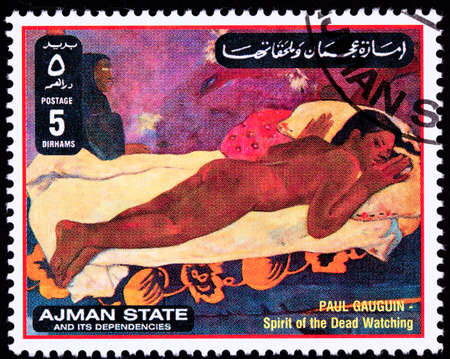 woman lying down: Paul Gauguin painting Spirit of the Dead Watching.  Ajman State is part of the United Arab Emirates. Stock Photo