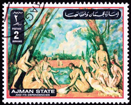 bathers: Paul Cezanne, Bagnanti Large Baigneuse.  Stato di Ajman � parte degli Emirati Arabi.