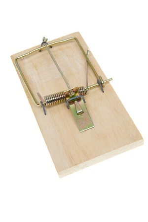 baited: Basic simple mousetrap.  Isolated on white background.