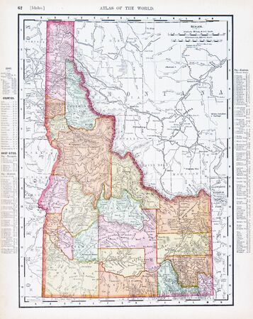 Vintage map of the state of Idaho, United States, ID, Copyright 1900 Stock Photo - 9174426