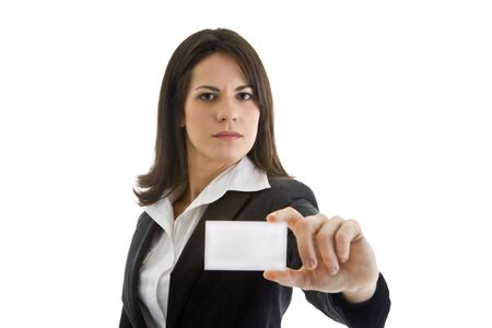 Caucasian woman holding out a business card.  Isolated on white background. Stock Photo - 9174359