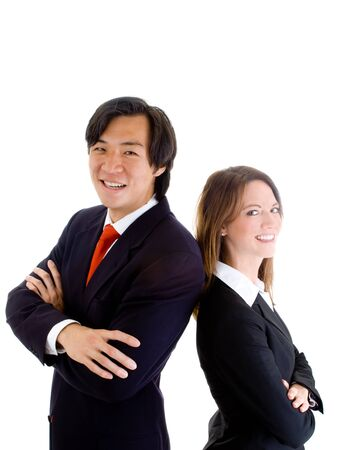 Asian man and Caucasian woman standing back-to-back. Stock Photo - 9174362