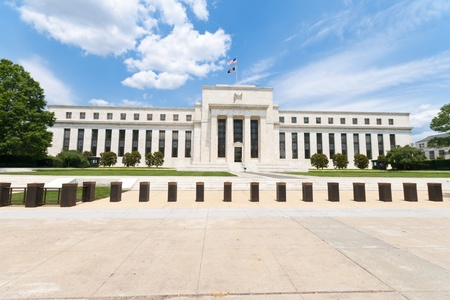 reserves: Federal Reserve Building in Washington, DC, United States.  Art DecoNeoclassical style. Stock Photo