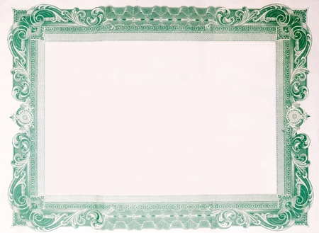scroll border: Border from an old U.S. Stock certificate.  Interior of the certificate has been removed, so all that remains is the boarder.