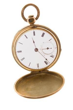 Open gold pocket watch isolated on white. Banque d'images