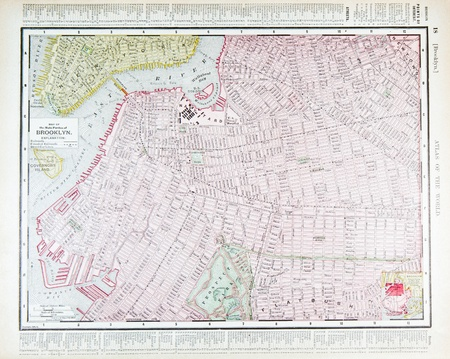 Vintage street map, downtown Brooklyn, New York, NY 1900 Фото со стока