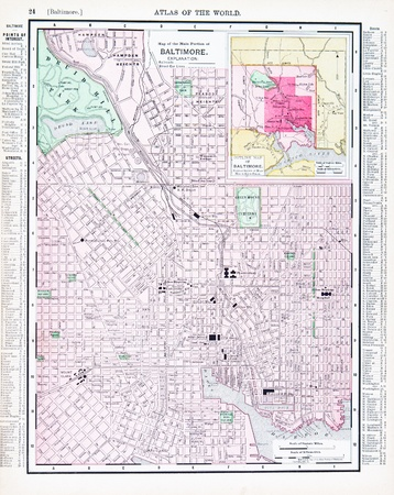 Vintage map of the city of Baltimore, Maryland, USA, 1900 photo