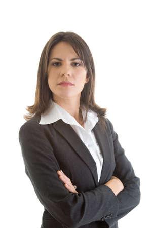 krachtige vrouw: Vertrouwen Kaukasische zakenvrouw, gekruiste armen, geïsoleerd op een witte achtergrond.