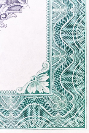 scroll border: Abstract border design from an old U.S. stock certificate. Stock Photo