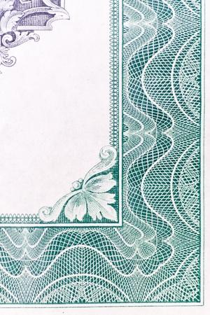 stock certificate: Dise�o de frontera abstracta de un certificado de stock de U.S. antiguo. Foto de archivo
