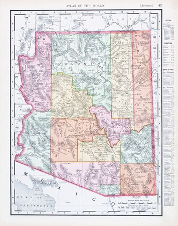 sates: Vintage map of the state of Arizona, United Sates, 1900