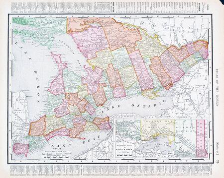 georgian: Vintage map of Ontario, Canada, 1900 Stock Photo