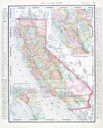 Vintage kaart van de staat Californië, VS, 1900 Stockfoto