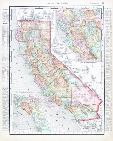 Vintage map of State of California, USA, 1900