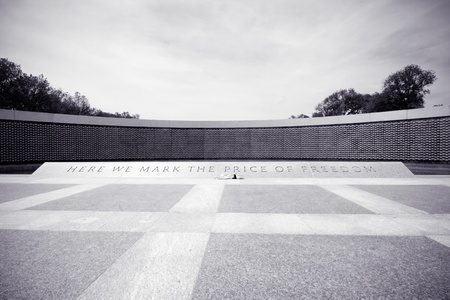 National World War II Memorial in Washington DC.  Stars represent the 415,000 American's who died during World War II.  Carving reads