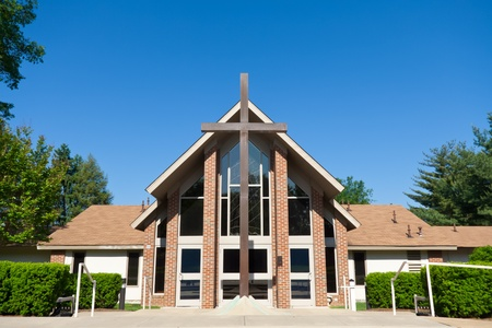 Facade of a modern church, shot with a wide angle lens. photo