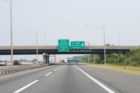 Exit 8A of the New Jersey TurnpikeI-95.  slight motion blur