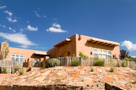 Mission Style Adobe Home, Suburban Santa Fe, NM, Palisade Fence