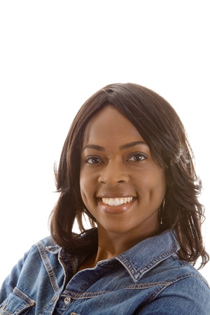 medium length: Smiling black woman with dimples.  Isolated on white background. Stock Photo
