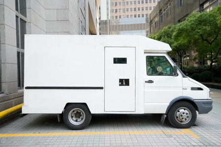 Armored van in Shanghai, China. Stock Photo