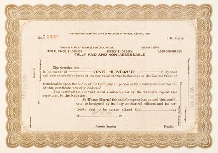 stock certificate: Certificado de acciones de edad de una empresa en Lovelock, Nevada. Publicado en 1918 por 100 acciones.