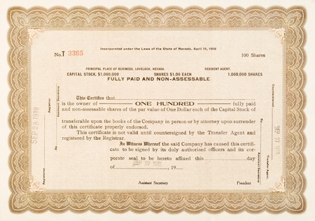 Old stock certificate from a company in Lovelock, Nevada.  Issued in 1918 for 100 shares. photo