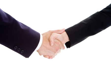 Man and womans hands shaking on white background.