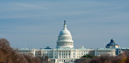 capitol: US Capitol building in winter,  Washington DC, USA. Stock Photo