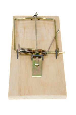 Basic simple mousetrap.  Isolated on white background. photo